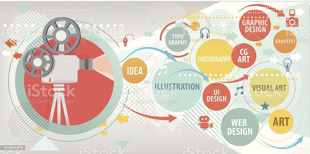 Projecting Arts vector art illustration