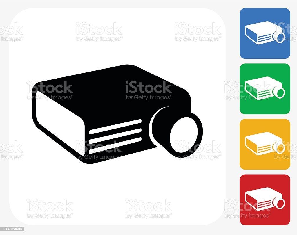 Projector Icon Flat Graphic Design vector art illustration
