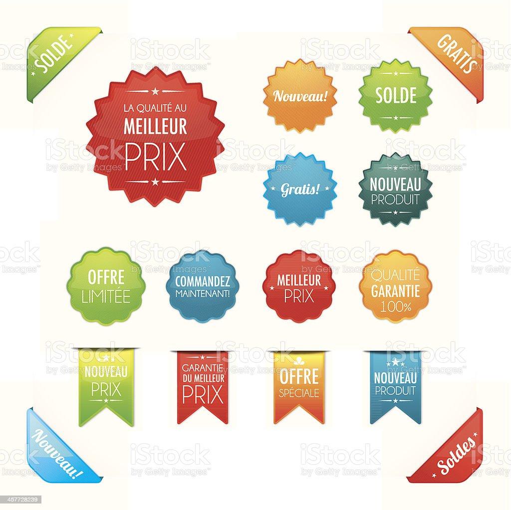 Les boutons de promotion en fran?ais royalty-free stock vector art