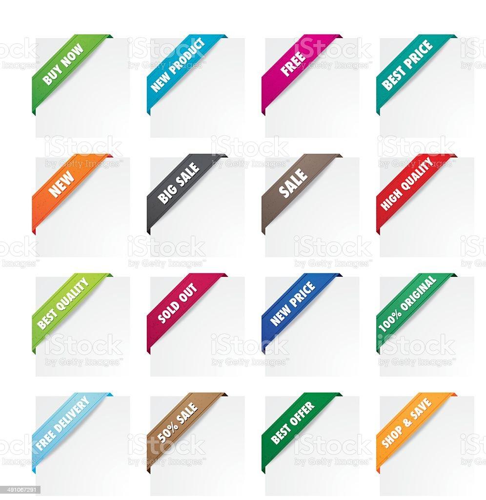 Promotion fabric corner ribbons vector art illustration