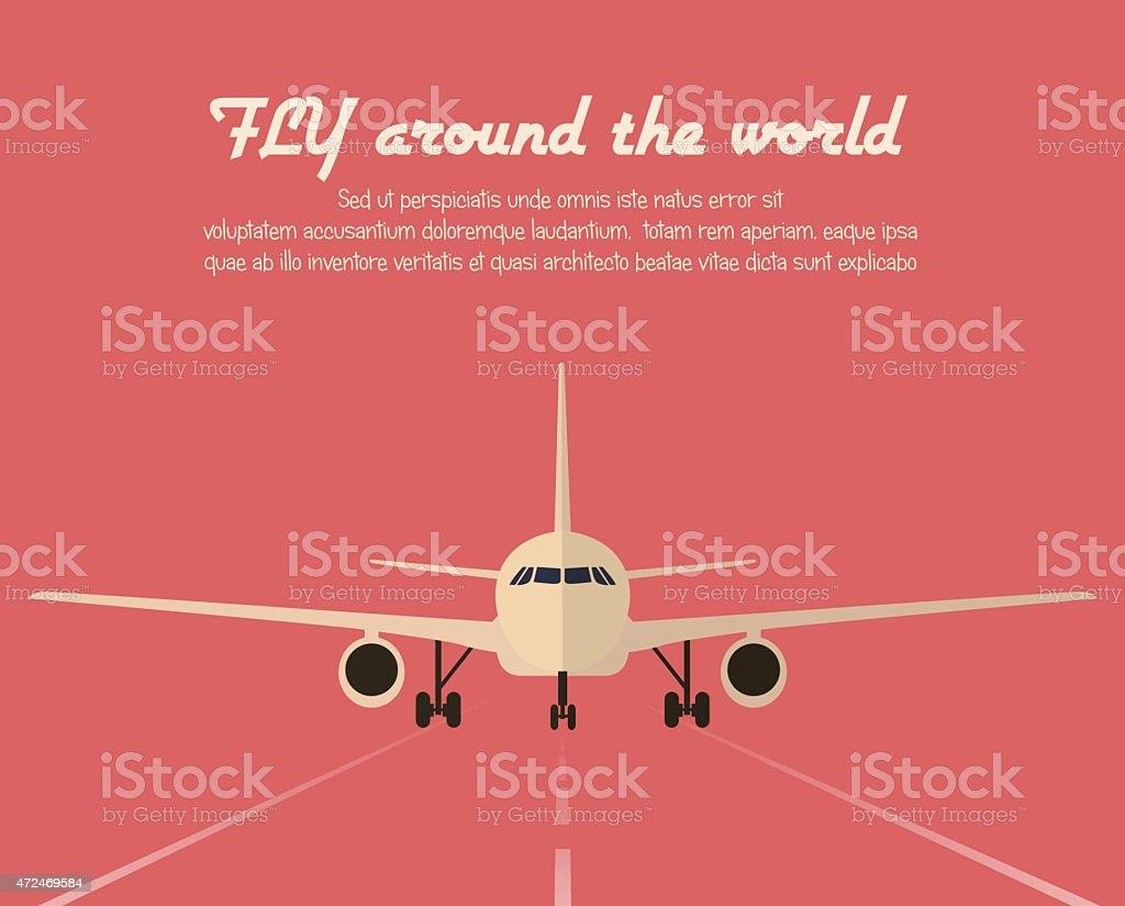 A promotional poster advertising plane flights vector art illustration