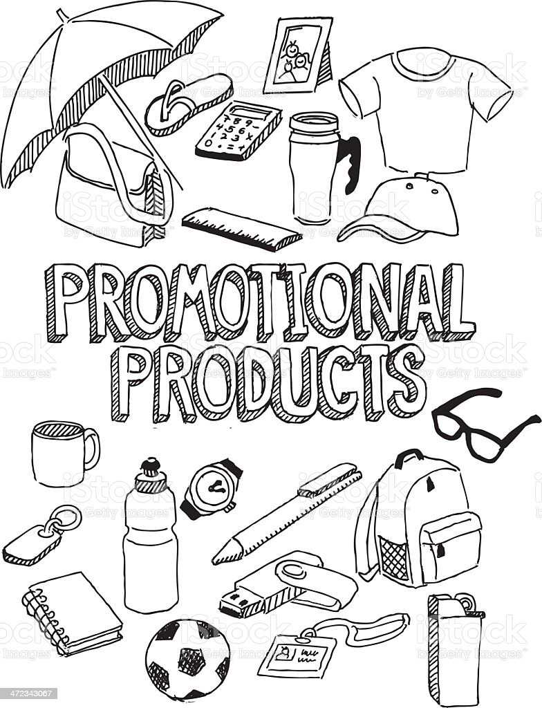 Promotional products doodle vector art illustration