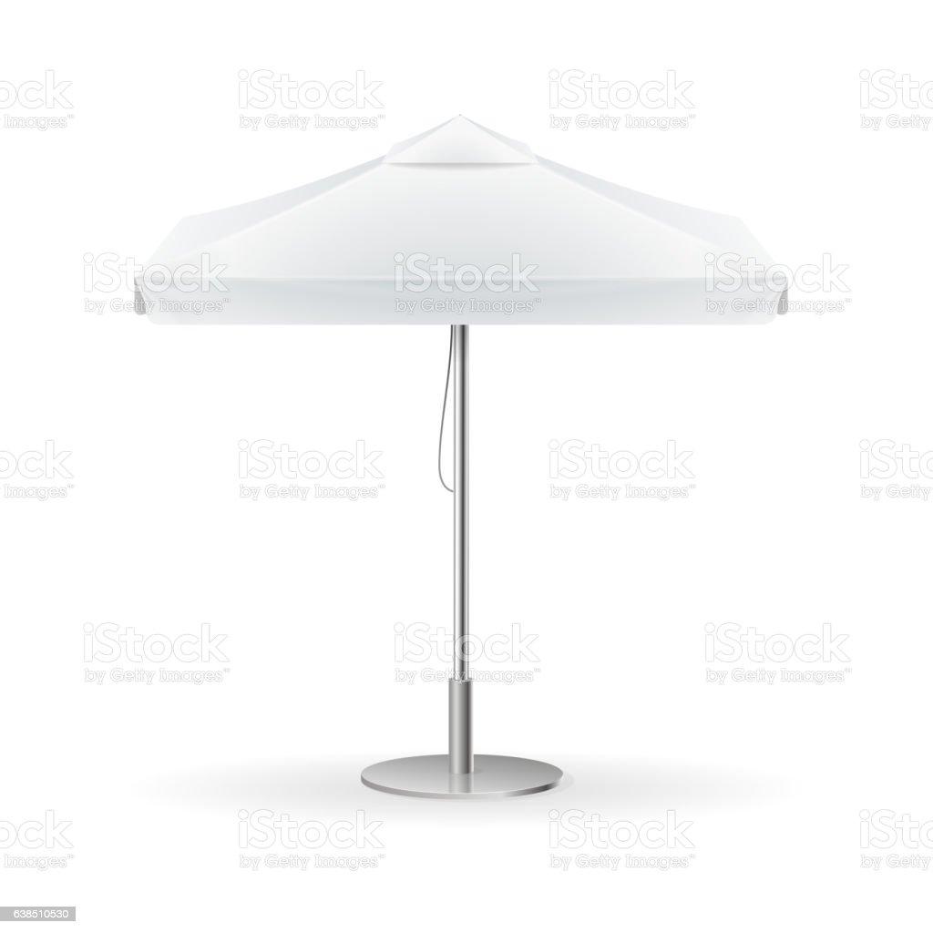 Promotional Square Advertising Outdoor White Umbrella. Vector vector art illustration