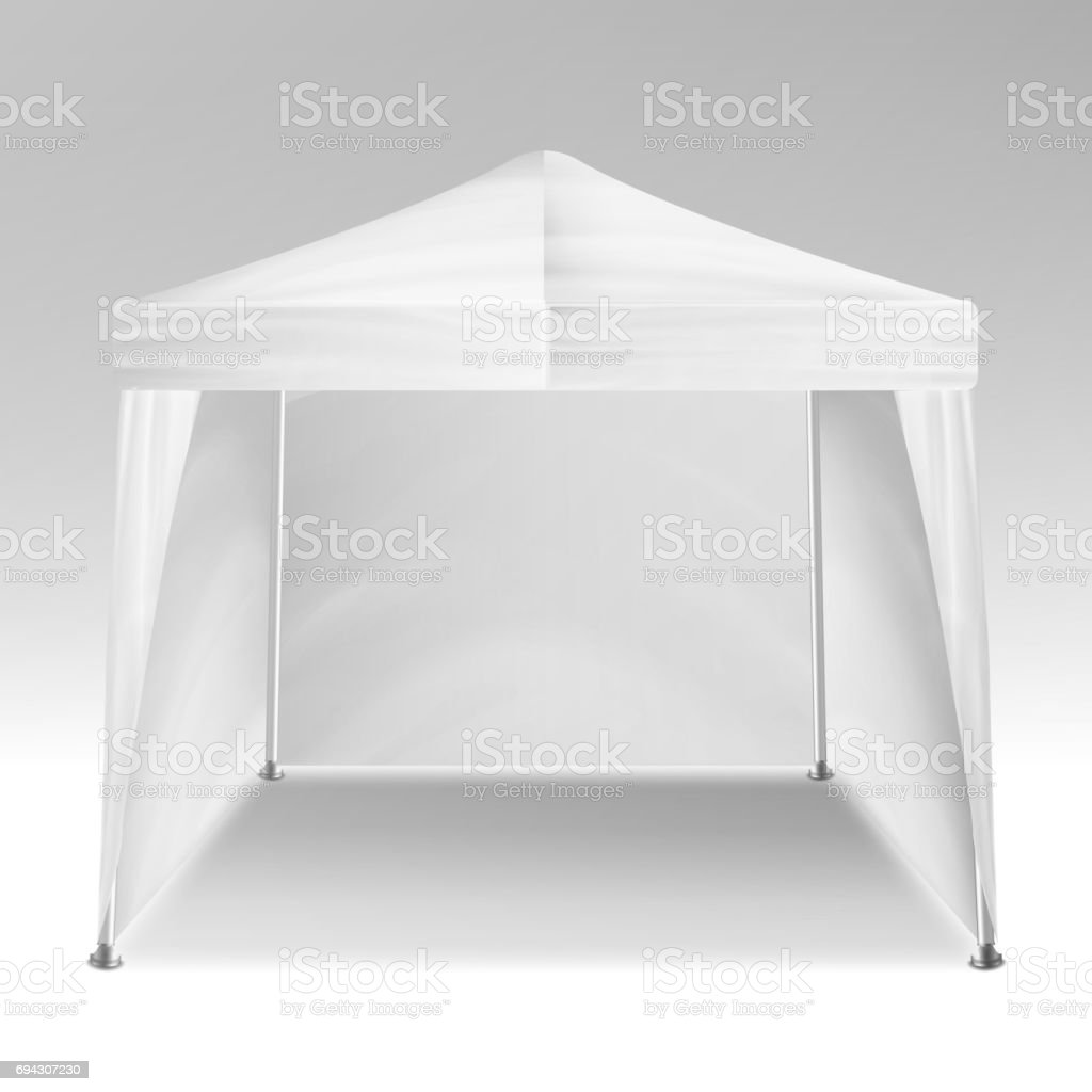 Promotional Tent Vector. Advertising Outdoor Event Trade Show Pop-Up Tent Mobile Advertising Marquee. Mockup, Template. Vector Illustration vector art illustration