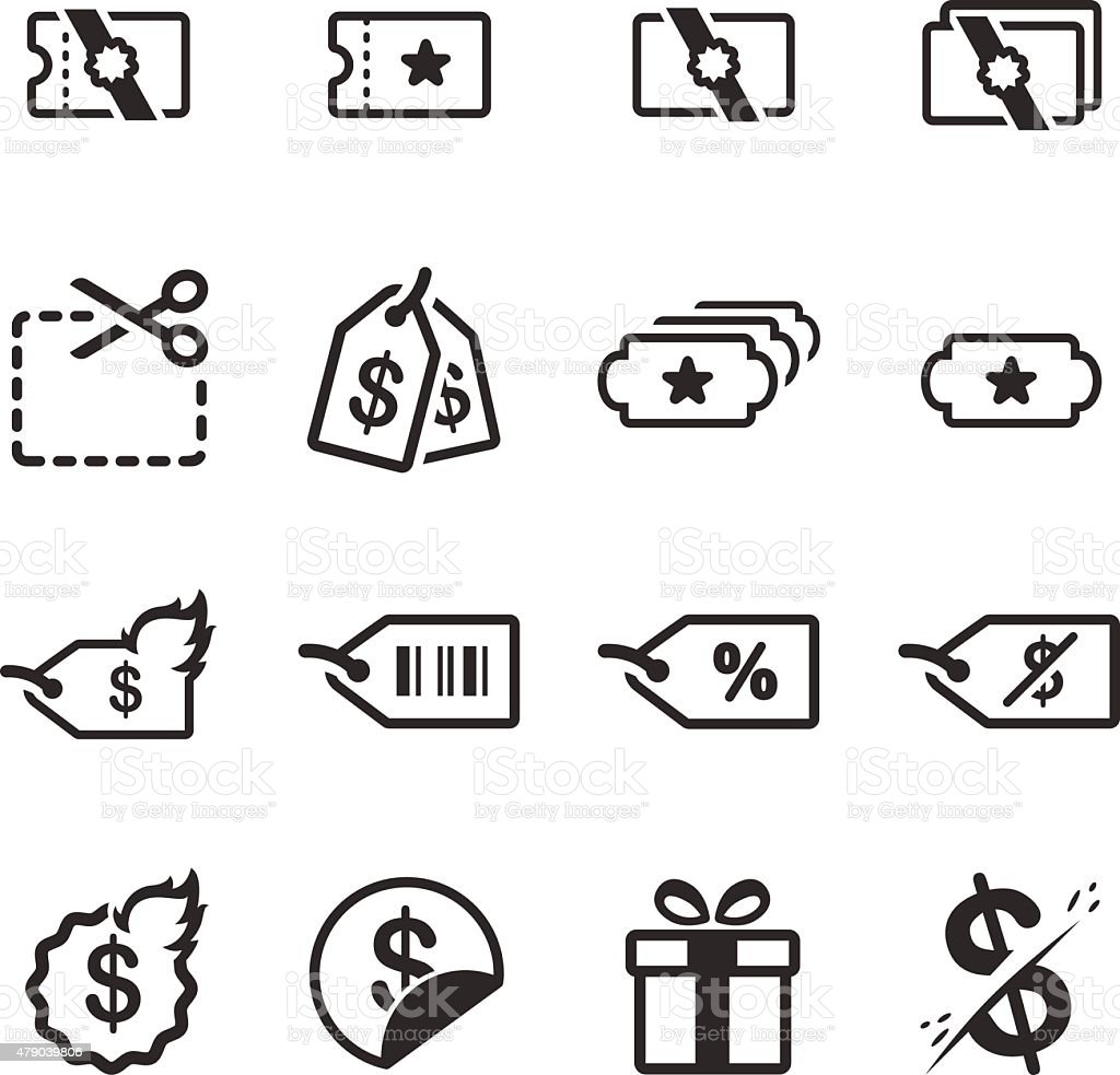 Promotions and discount icon set vector art illustration