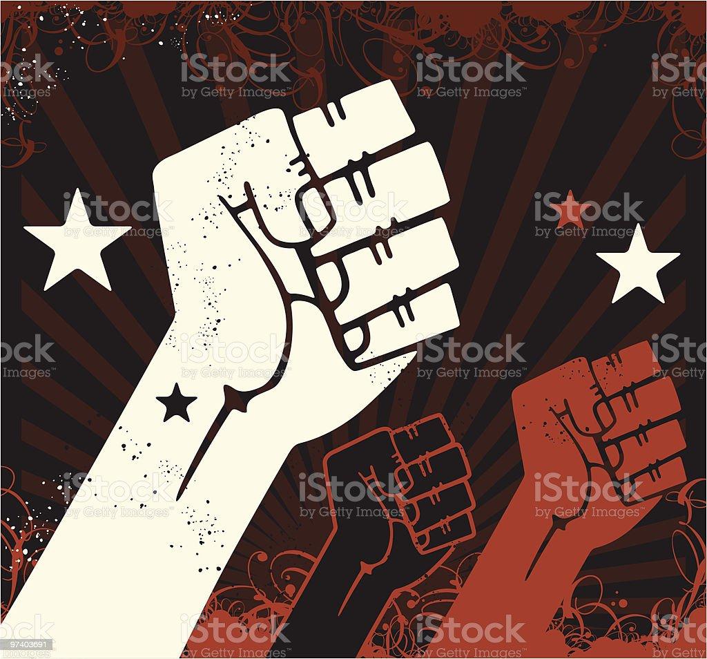 Propaganda Fists vector art illustration