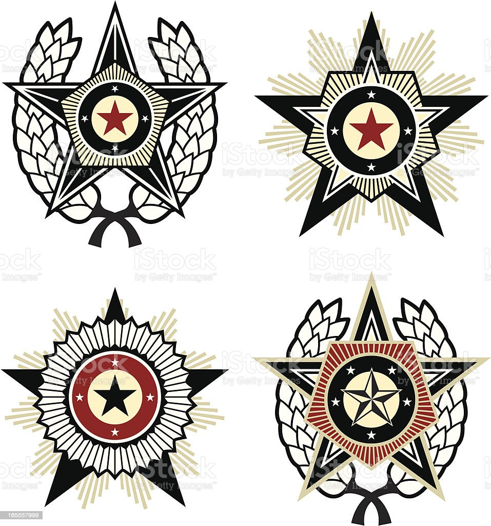 Propaganda style emblems vector art illustration