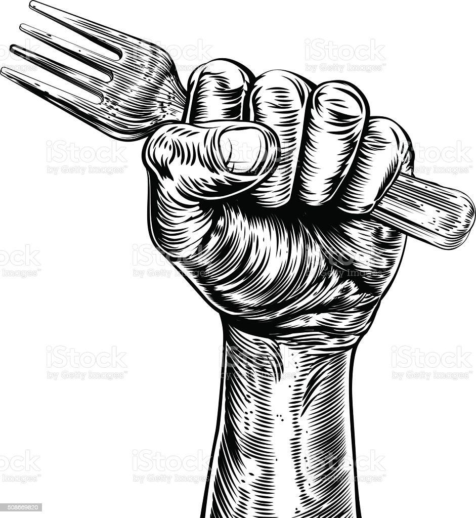 Propaganda Woodcut Fist Hand Holding Fork vector art illustration