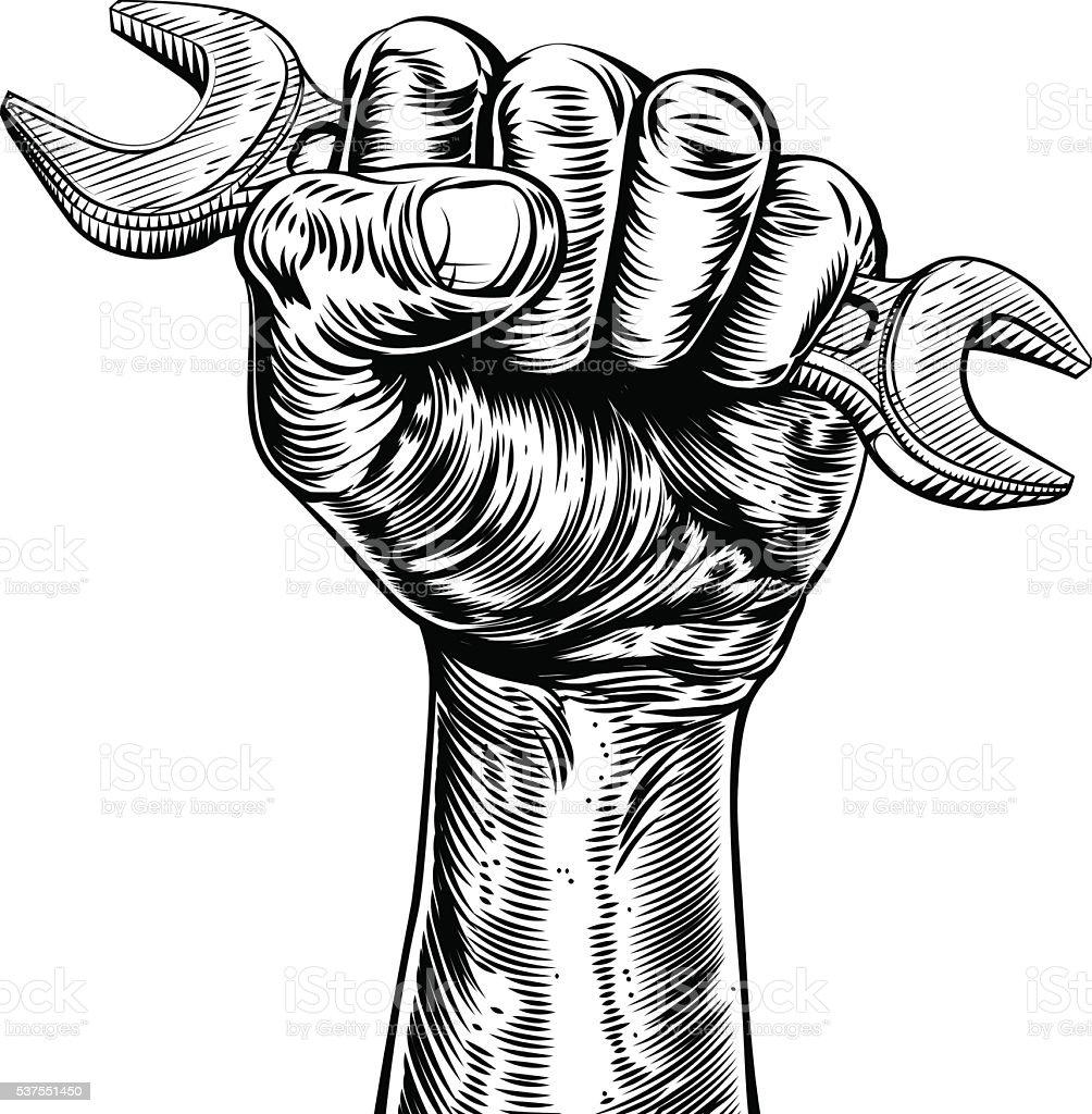 Propaganda Woodcut Fist Hand Holding Spanner vector art illustration