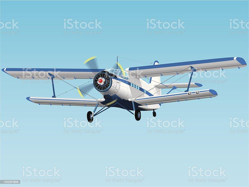 Propeller biplane royalty-free stock vector art