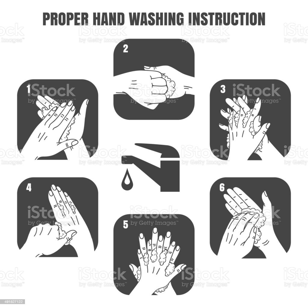 Proper hand washing instruction black vector icons set vector art illustration
