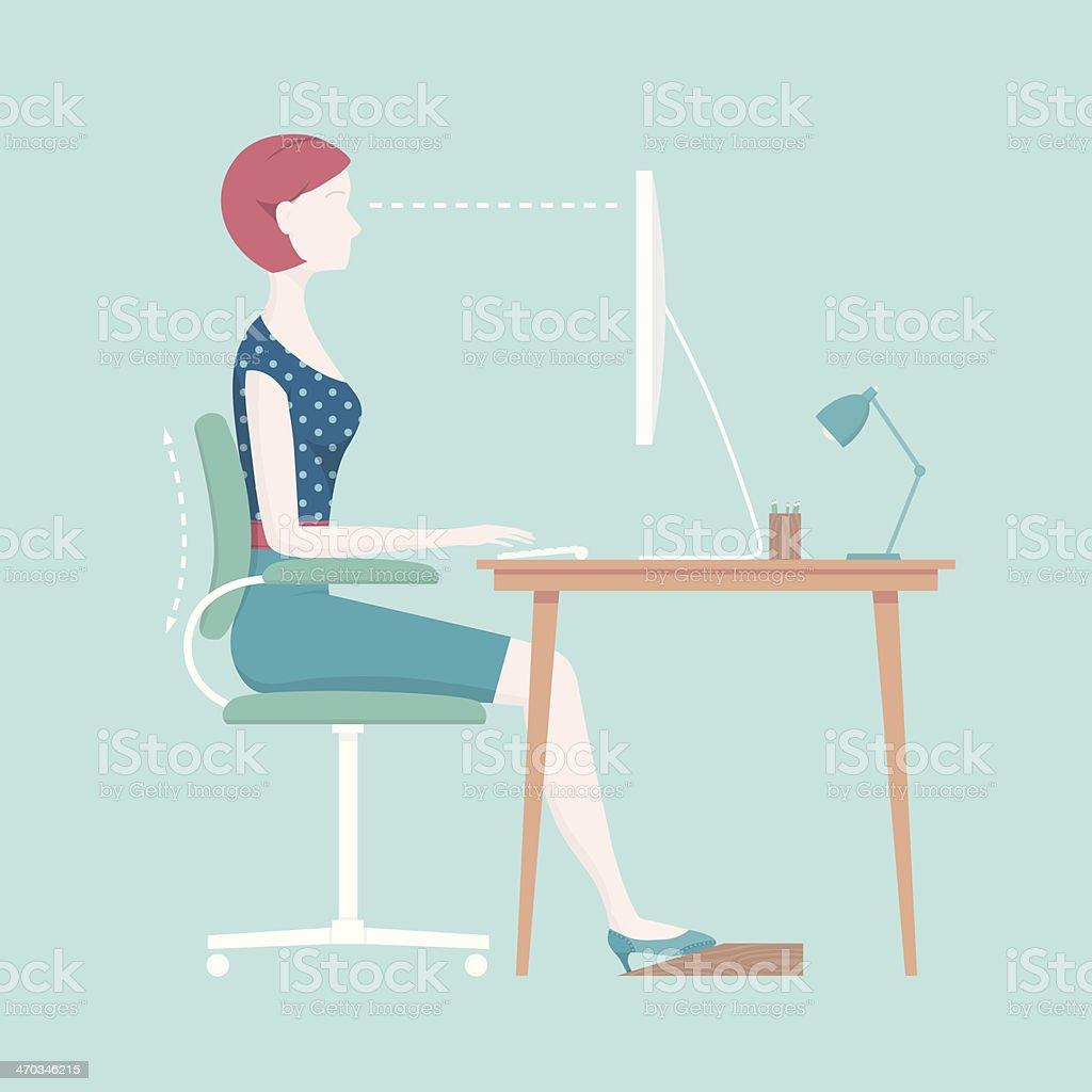 Proper Sitting Posture vector art illustration