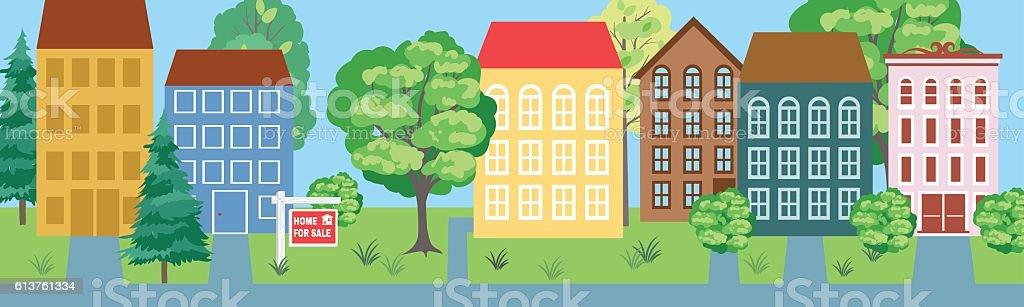 Properties for Sale Real Horizontal Banner vector art illustration