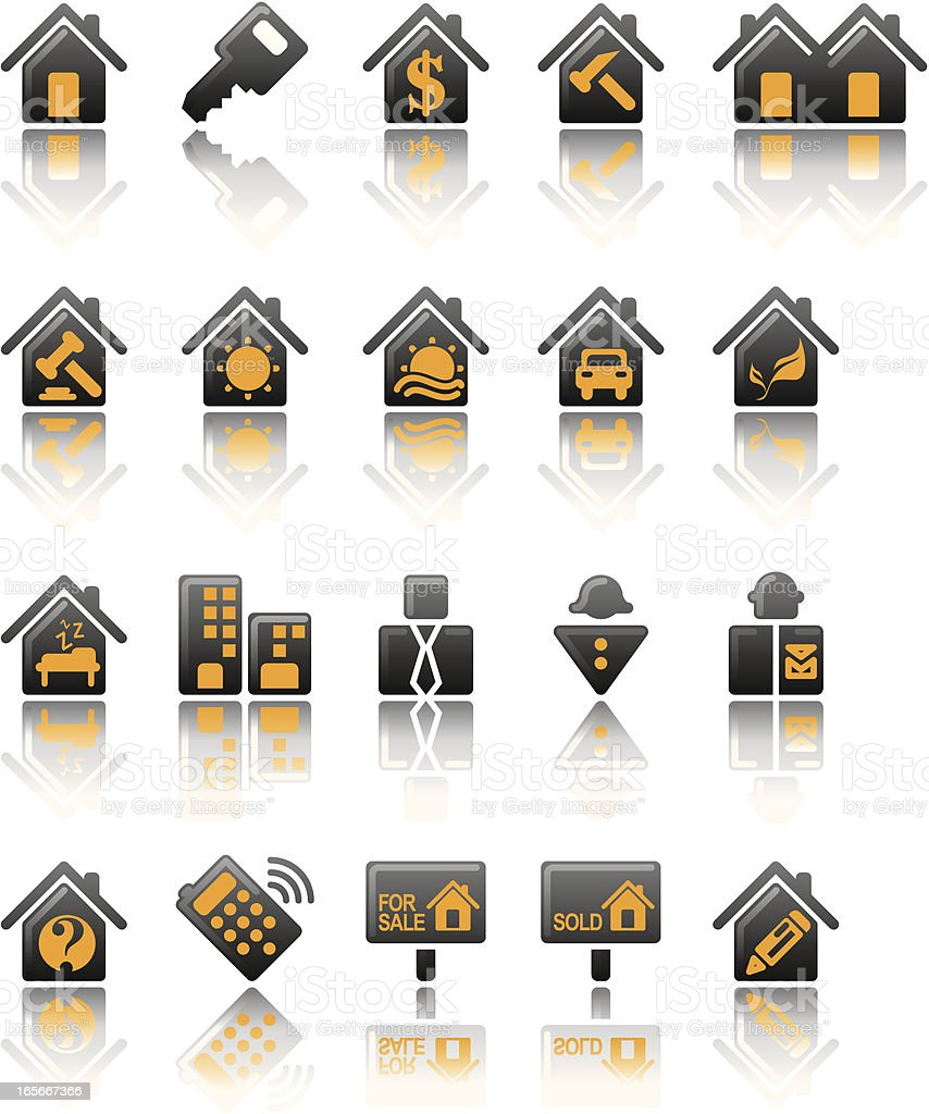 Property and Real Estate Icons Satin Series royalty-free stock vector art