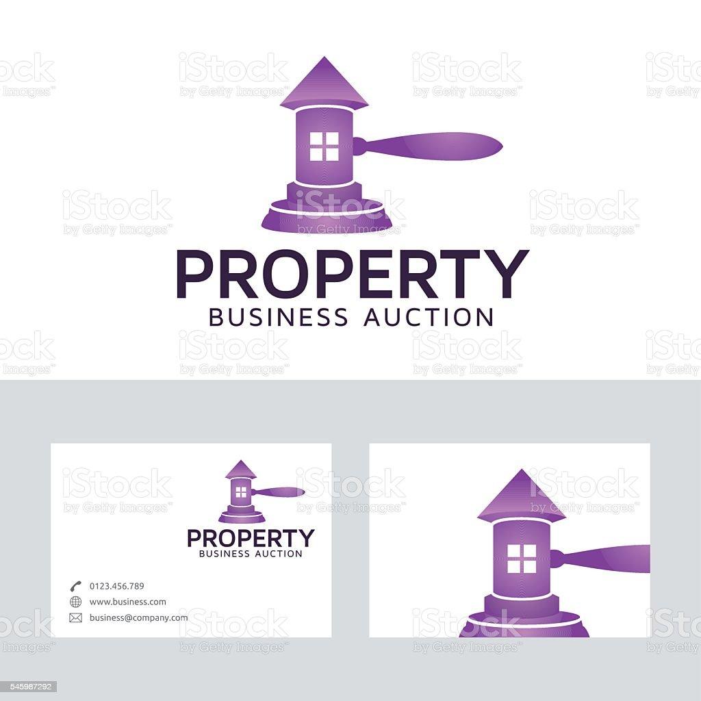 Property auction vector logo vector art illustration