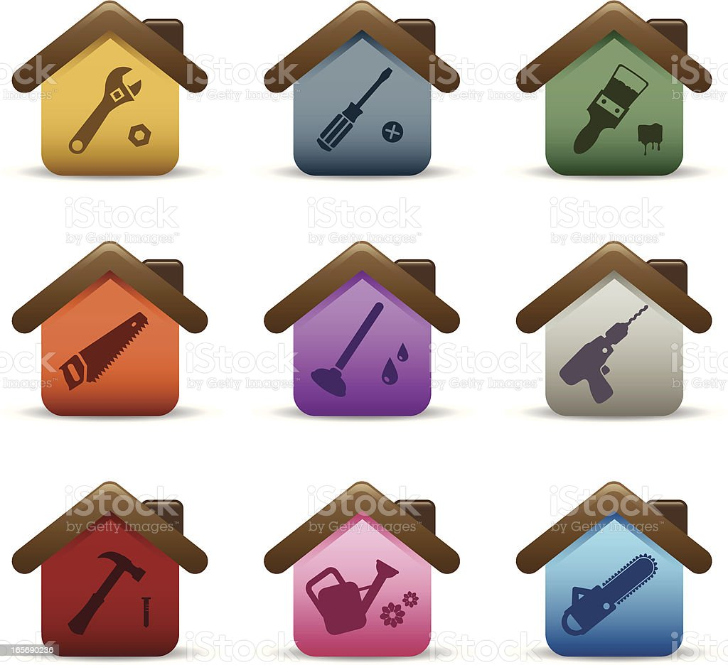 Property Developing & Home Maintenance Icons royalty-free stock vector art