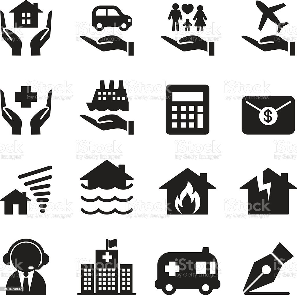 Property Insurance icons set Vector illustration vector art illustration