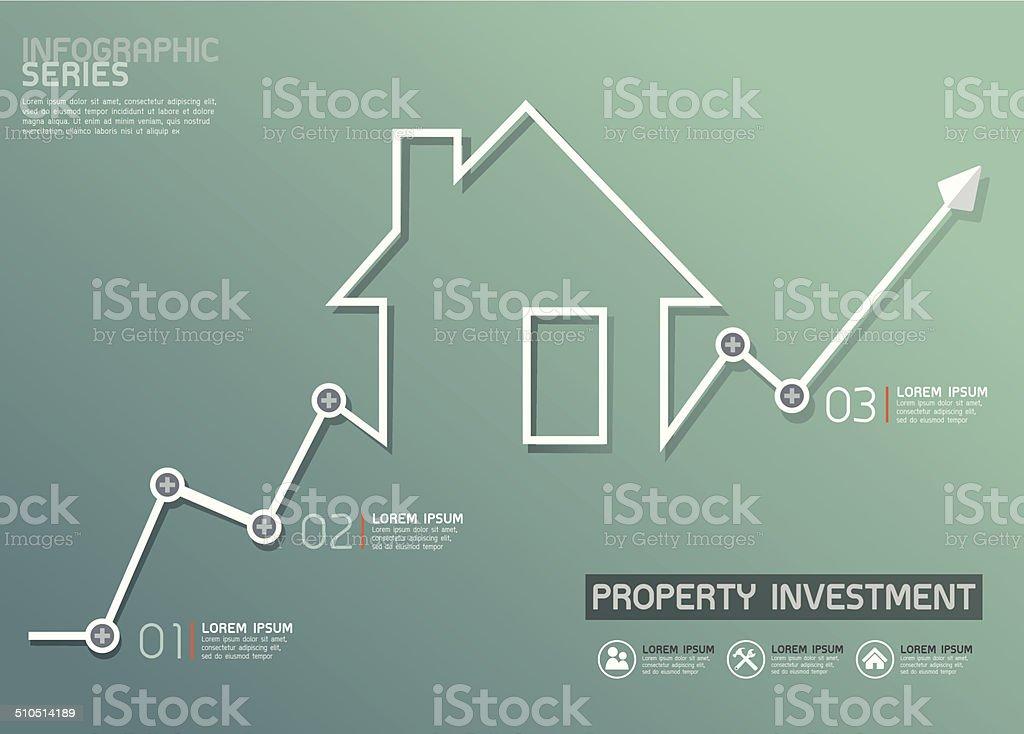 Property Invesment Line Diagram Template vector art illustration
