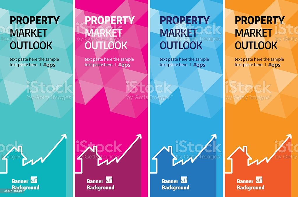 Property outlook chart banner vector art illustration