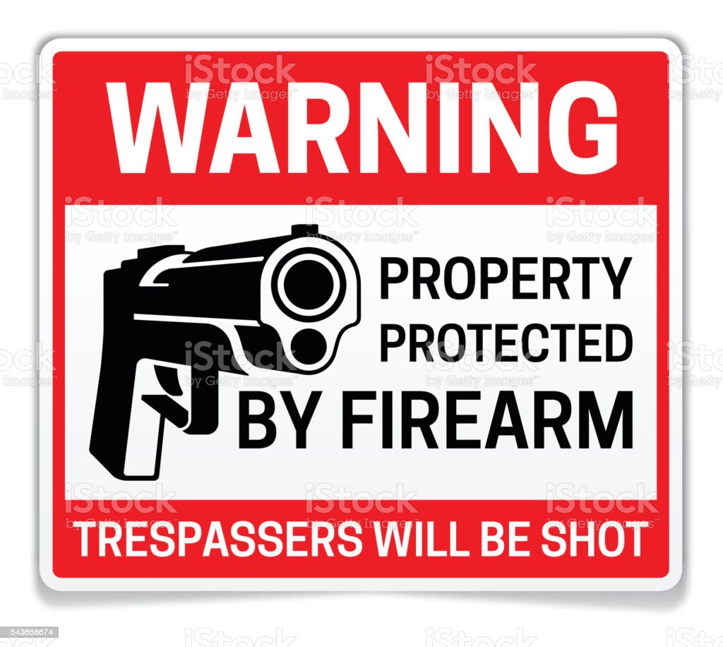 Property Protected by Firearms Warning Sign vector art illustration