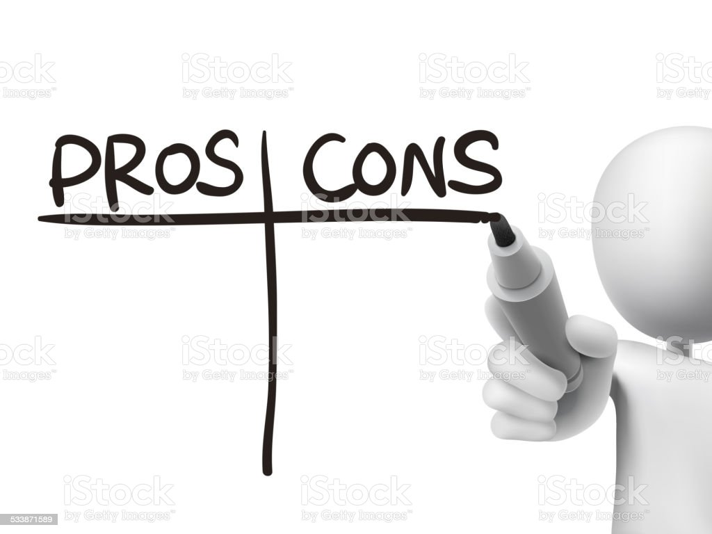 pros and cons words written by 3d man vector art illustration