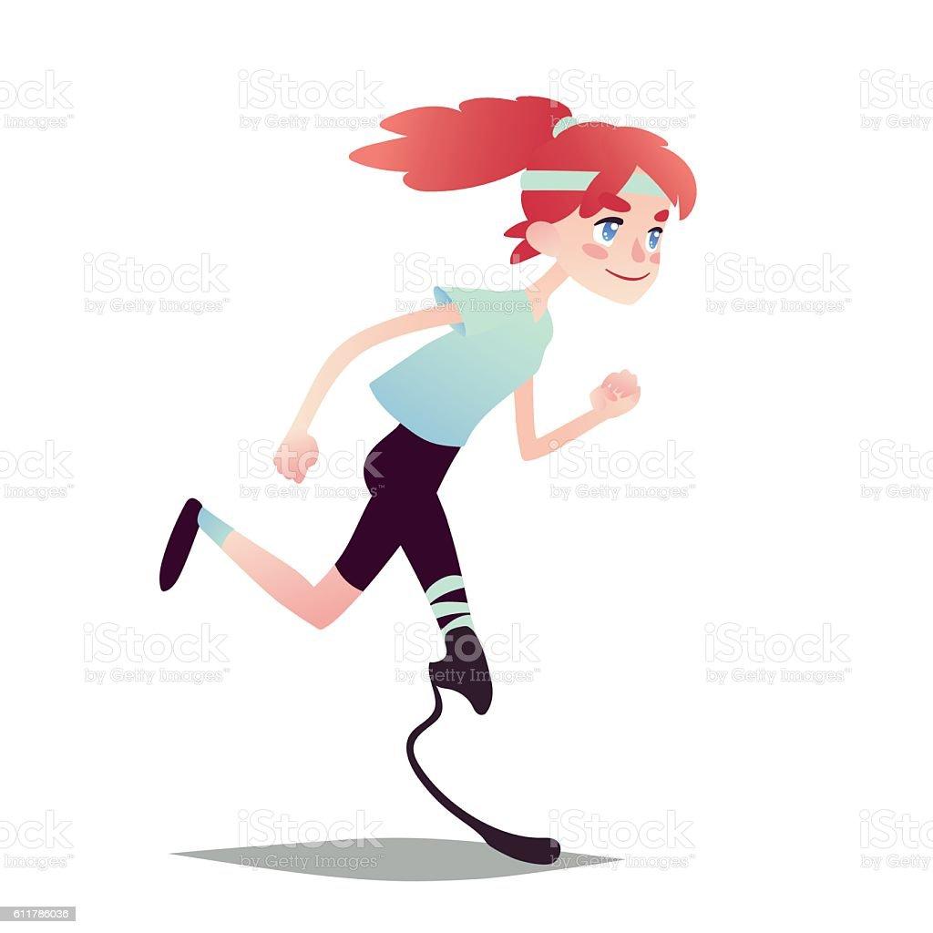 Prosthetic Girl Running. vector art illustration
