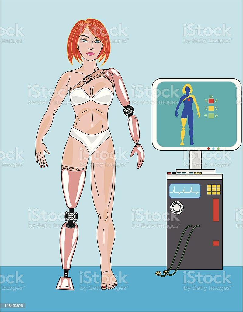 Prosthetic Girl vector art illustration