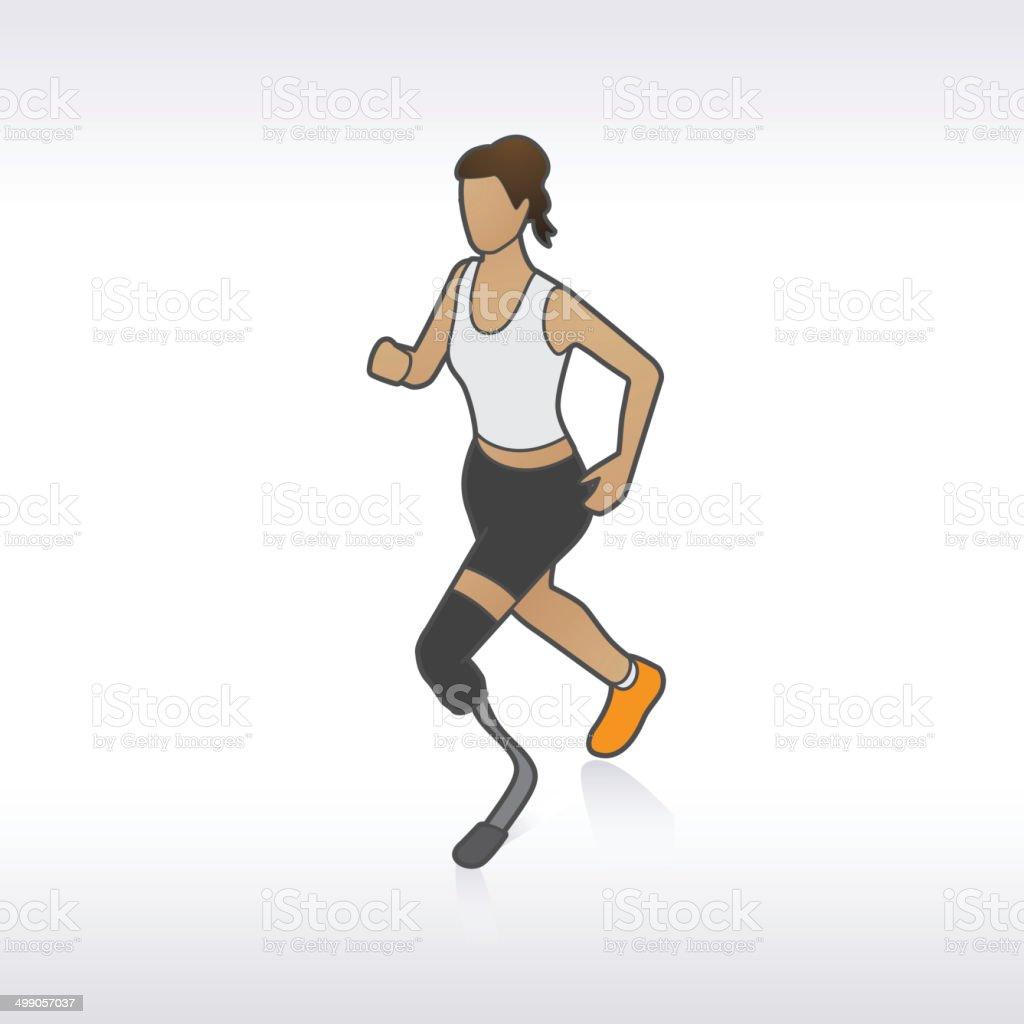Prosthetic Leg Jogger vector art illustration