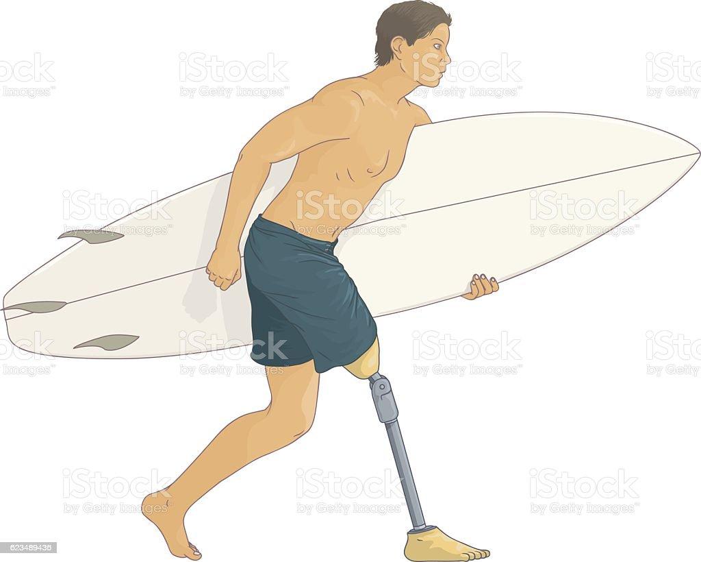 Prosthetic surf vector art illustration