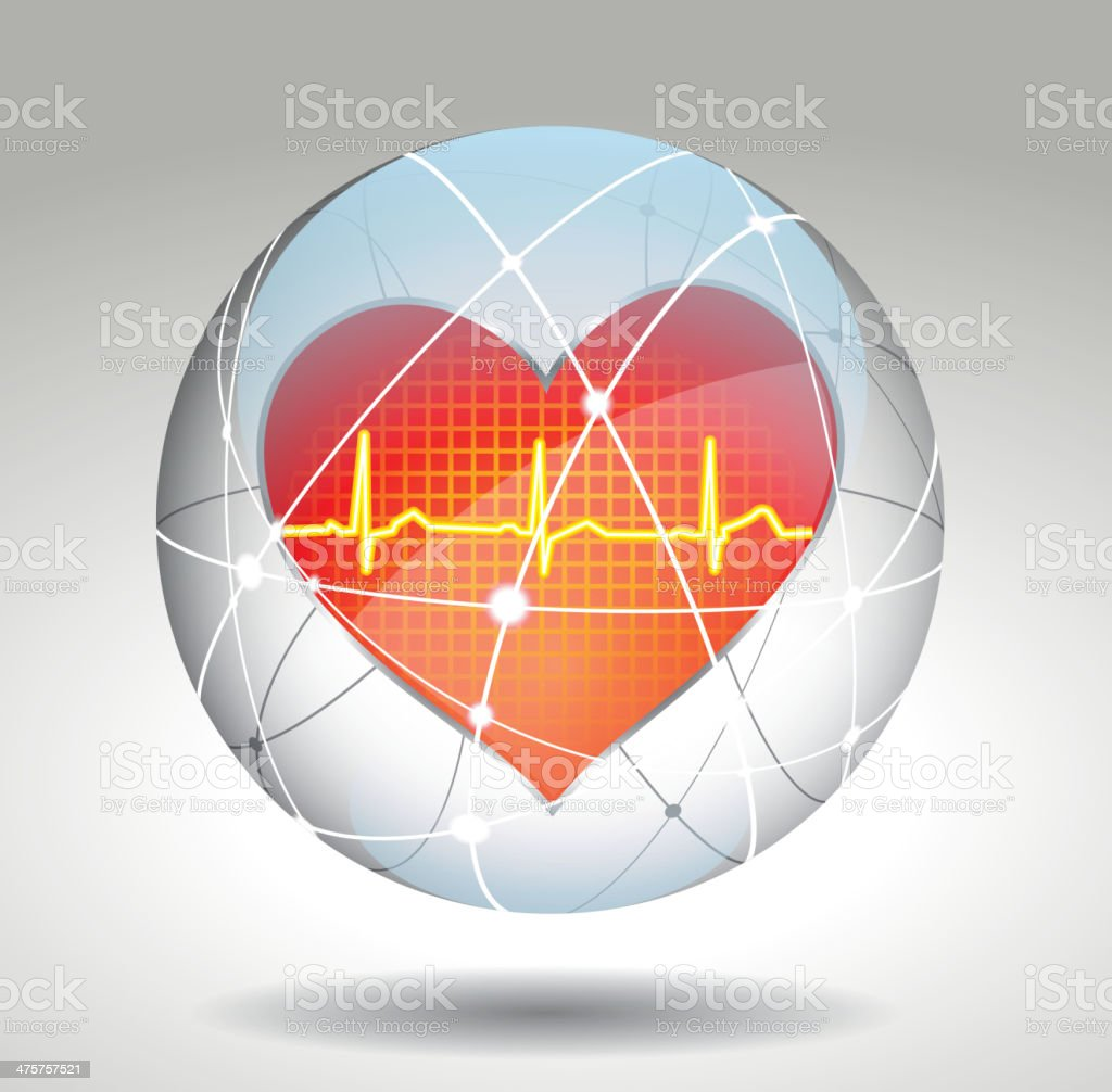 Protect heart symbol vector art illustration