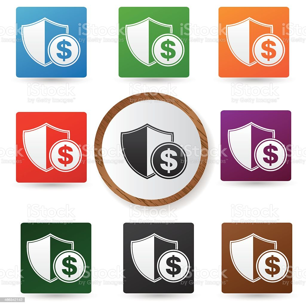 Protect money symbol,Colorful buttons,vector royalty-free stock vector art