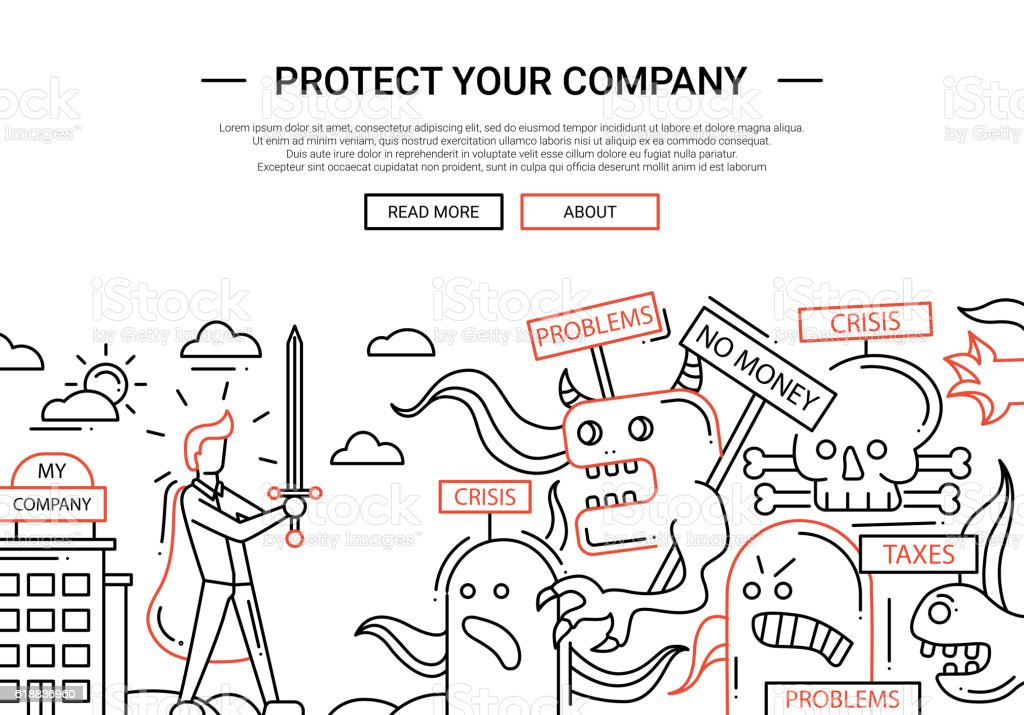Protect Your Company - line design website banner temlate vector art illustration
