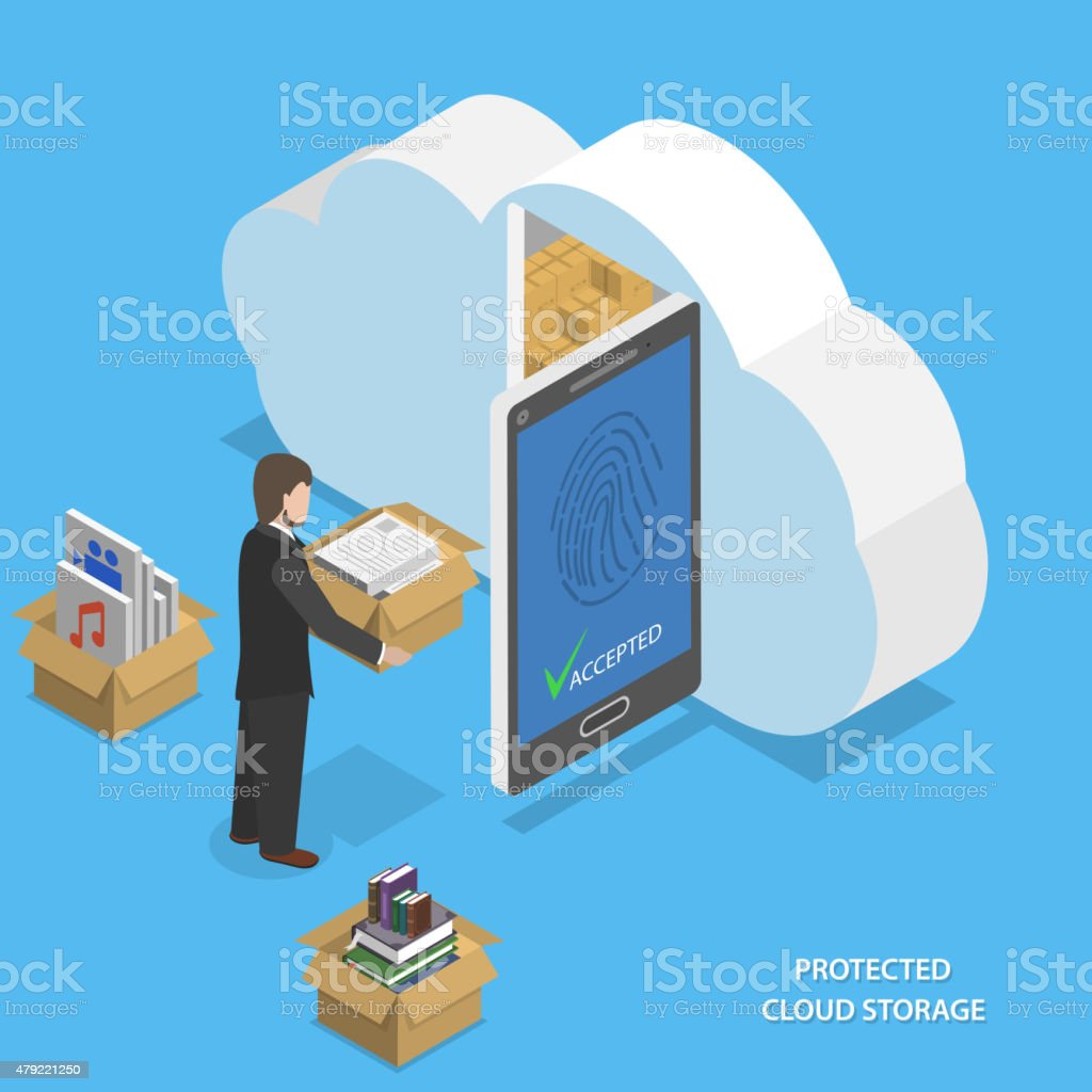 Protected cloud storage flat isometric vector. vector art illustration