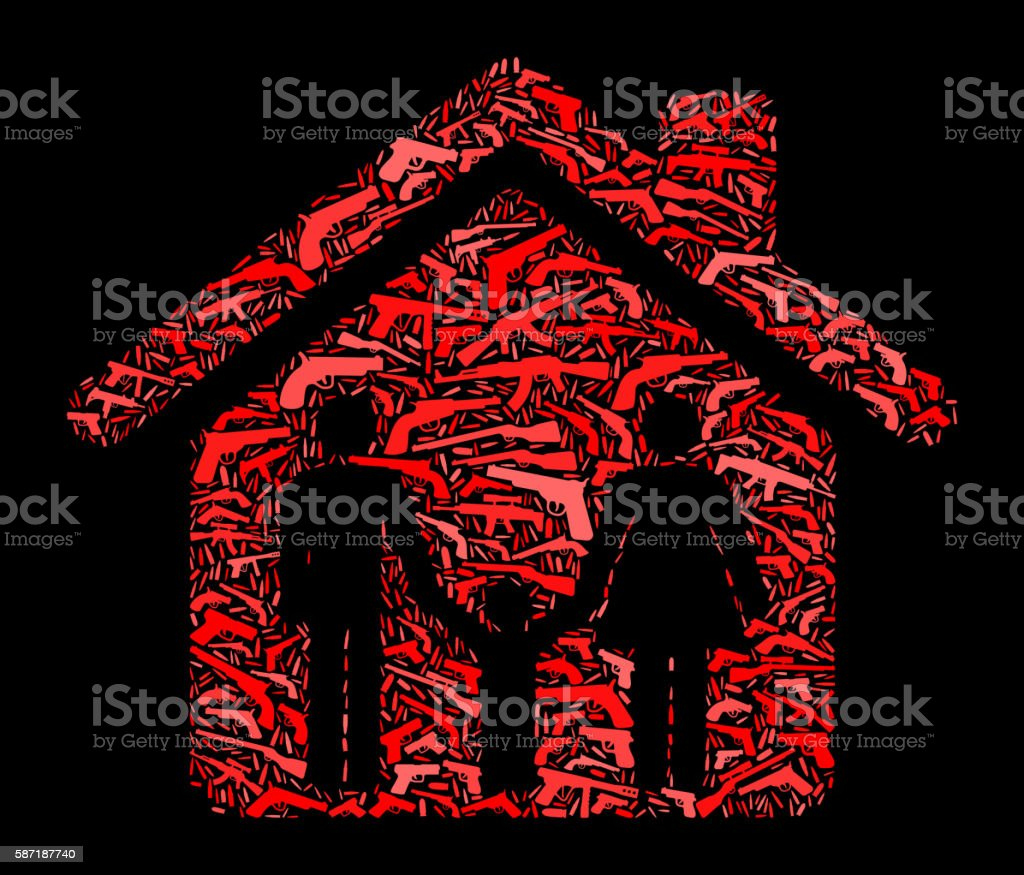 Protected Home and Family Gun Icon Pattern Background vector art illustration