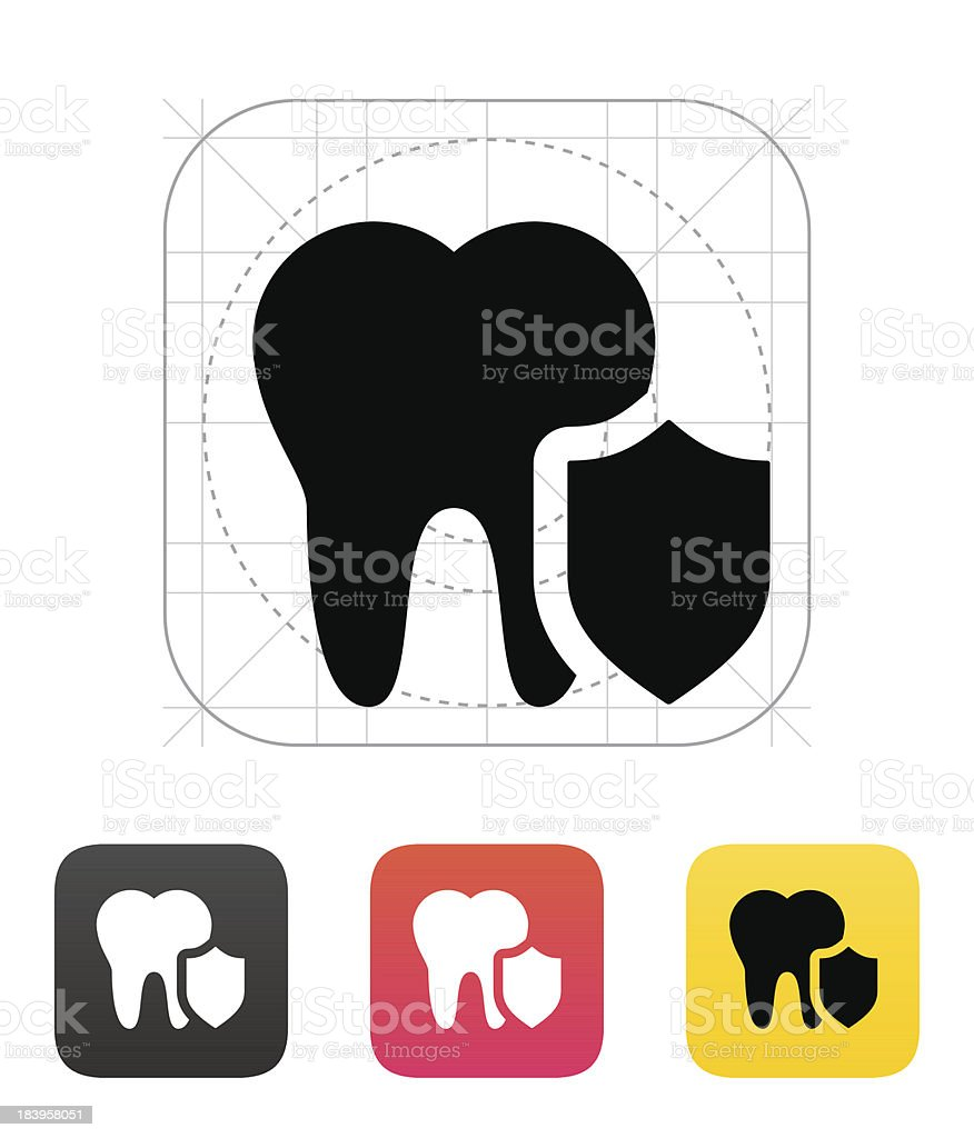 Protected tooth icon. royalty-free stock vector art