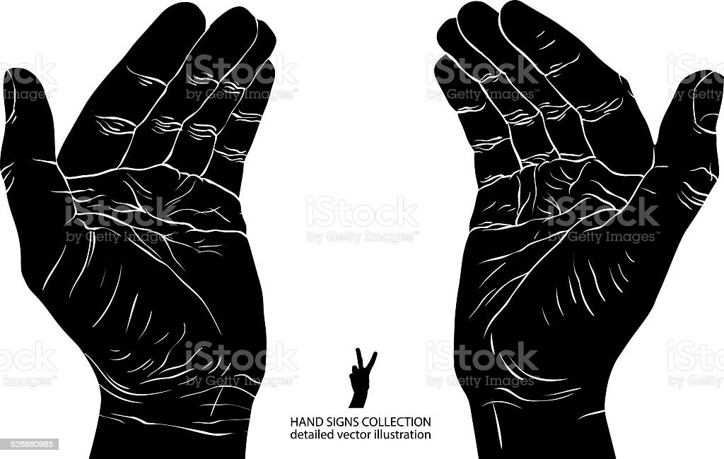 Protecting empty hands with place for some small object vector art illustration