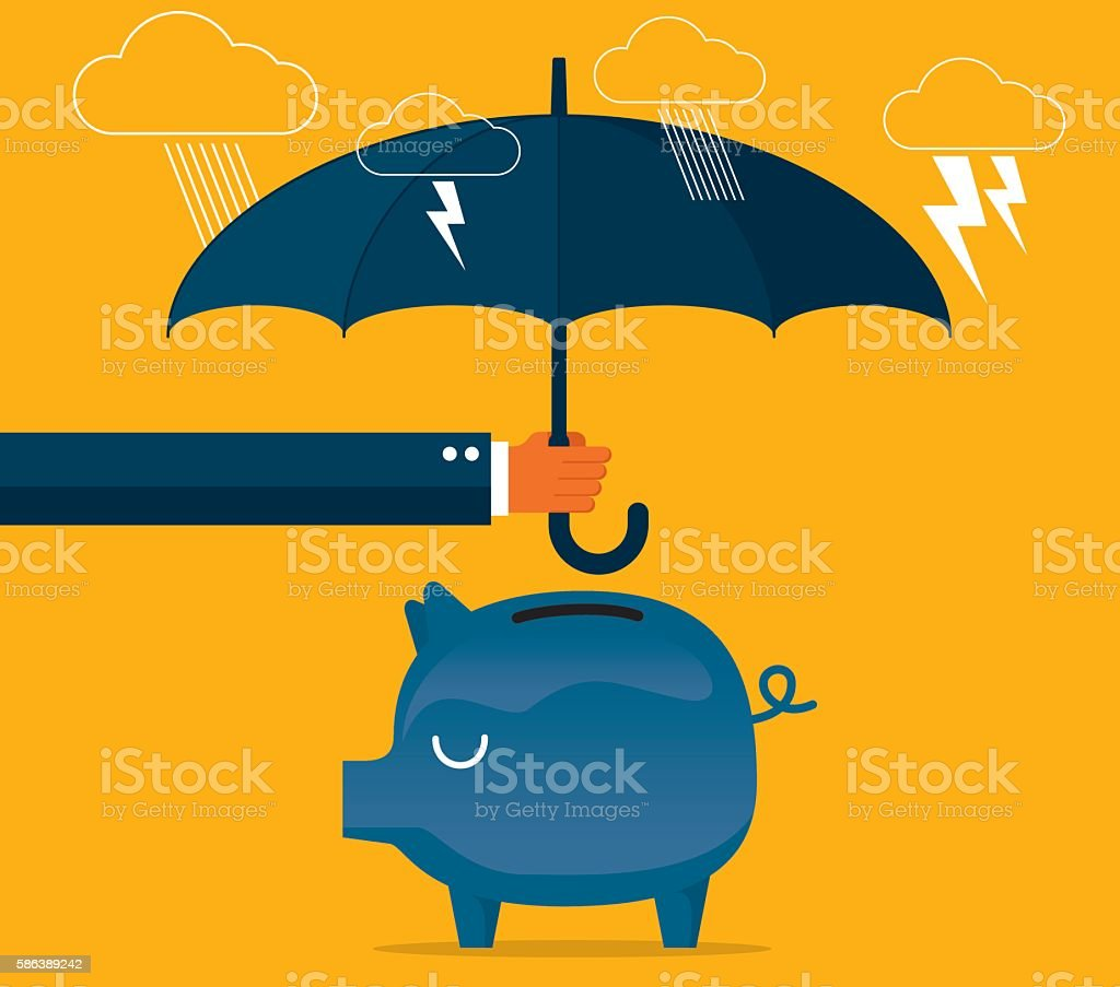 Protecting piggy bank vector art illustration