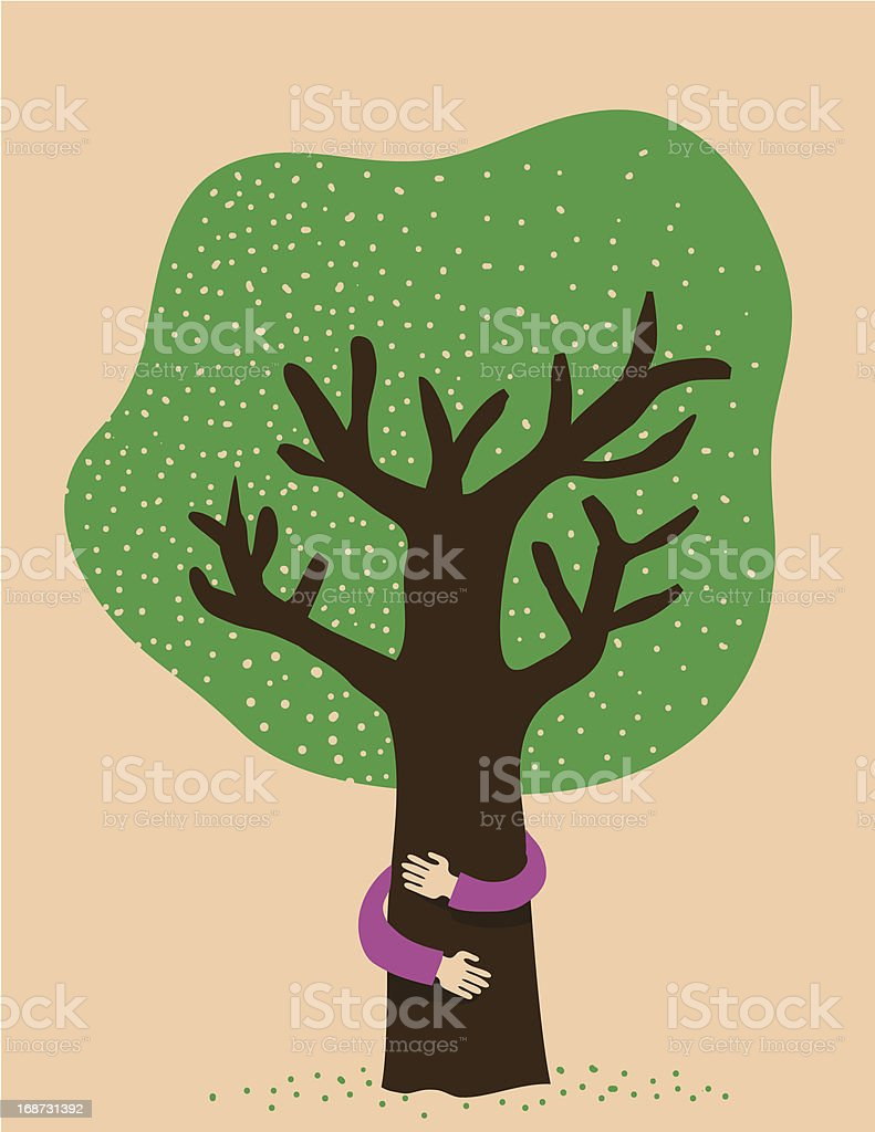 Protecting the tree vector art illustration