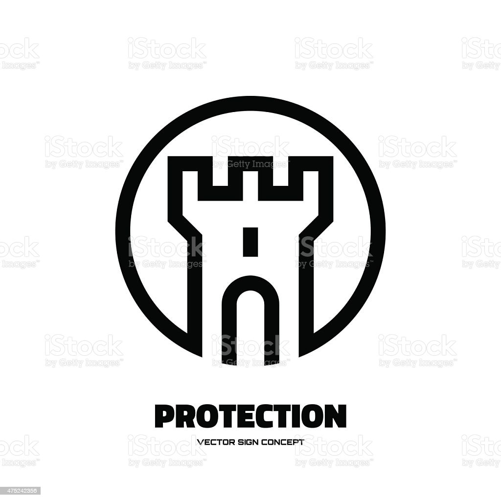 Protection - abstract tower - vector logo concept illustration. vector art illustration