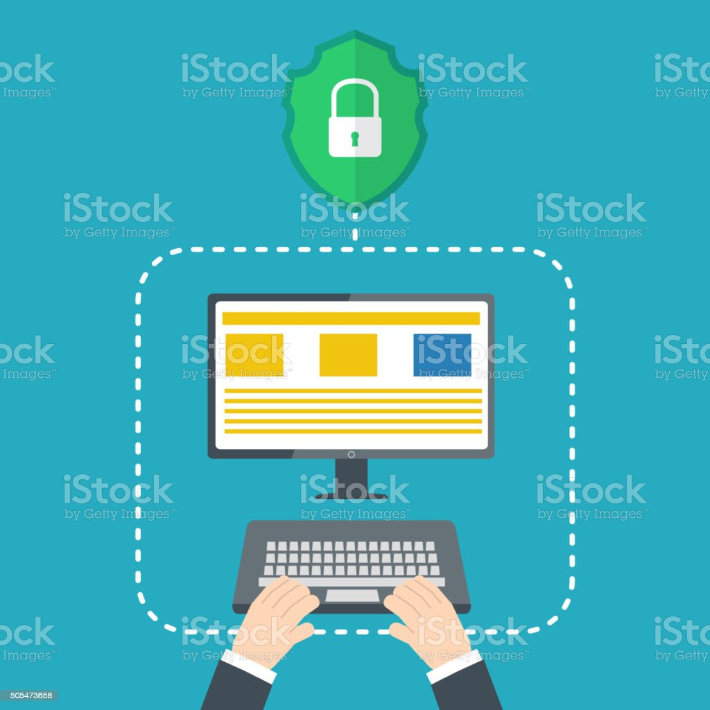 Protection against hacker concept. Vector illustration vector art illustration