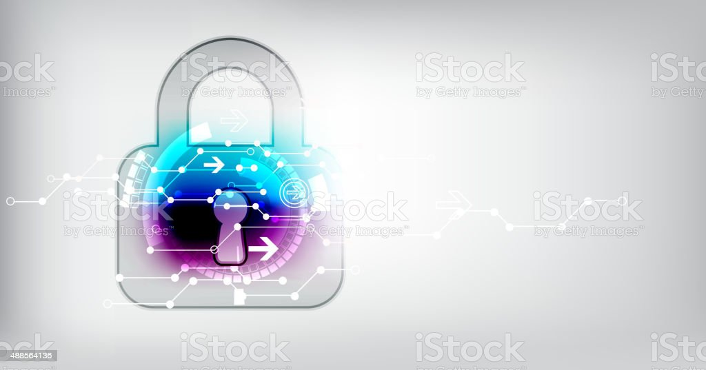 Protection concept of digital and technological. vector art illustration