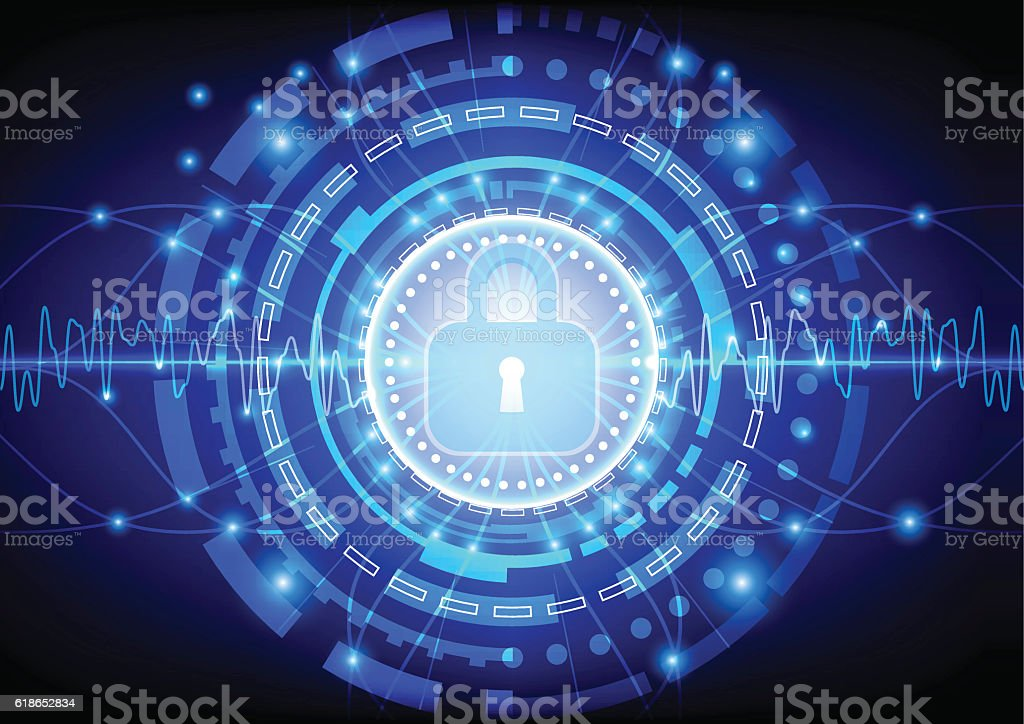 Protection concept of digital and technology. illustration vector art illustration