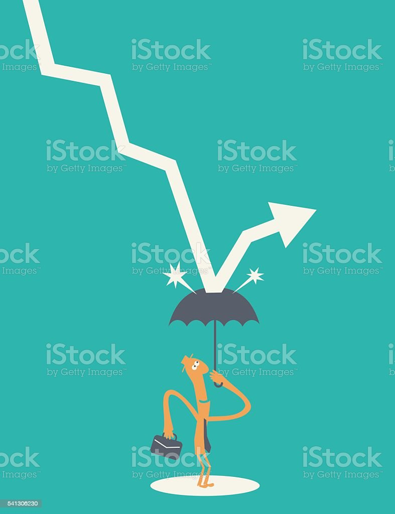 protection from crisis and negative statistics (falling down arrow sign) vector art illustration