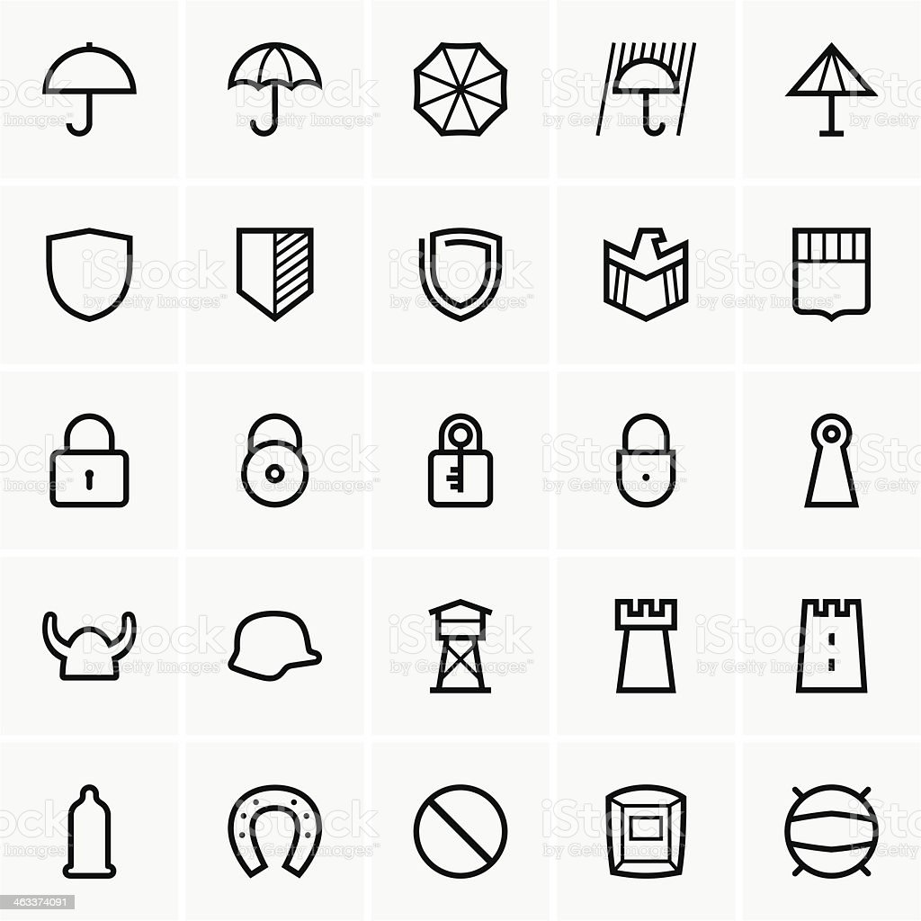 Protection icons vector art illustration