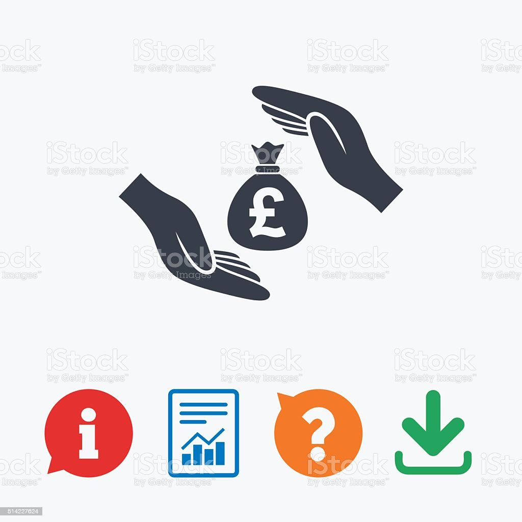 Protection money sign icon. Hands protect cash. vector art illustration