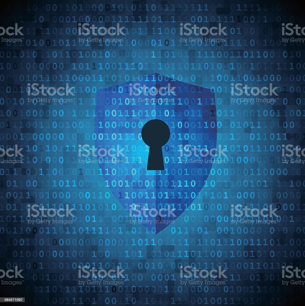 Protection shield with keyhole on digital data background vector art illustration