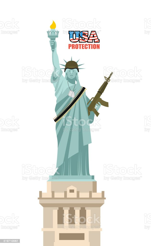 USA protection. Statue of Liberty with gun. Symbol of democracy vector art illustration