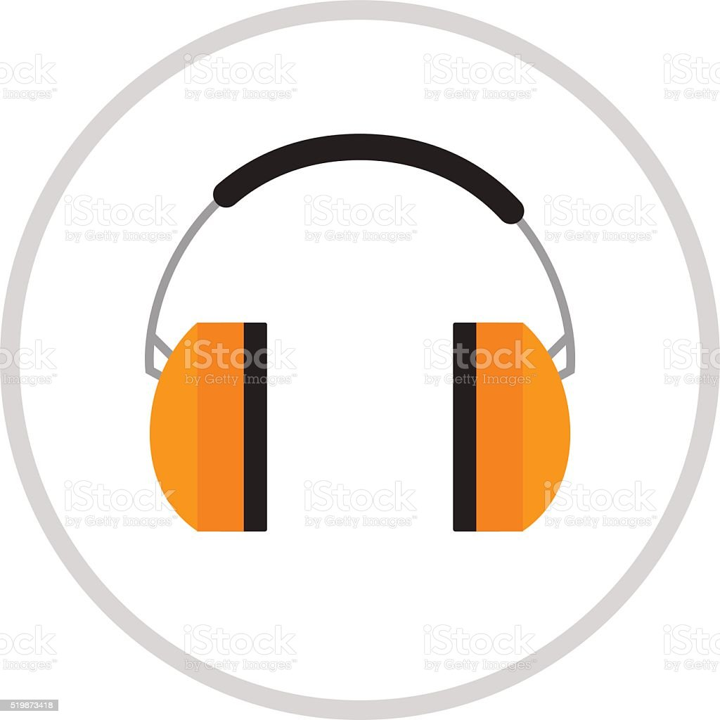 Protective ear muffs isolated on a white background vector art illustration