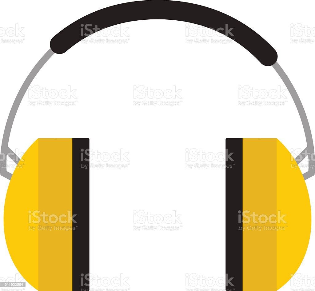 Protective ear muffs isolated on a white background. vector art illustration