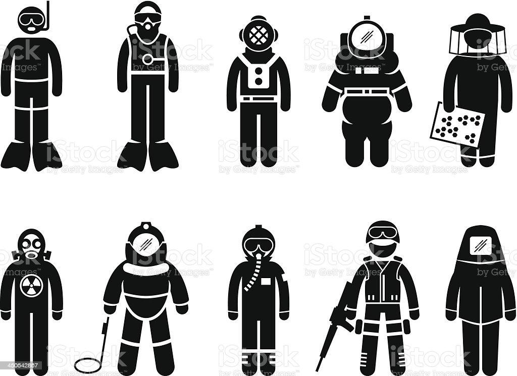Protective Suit Gear Uniform Wear Pictogram vector art illustration